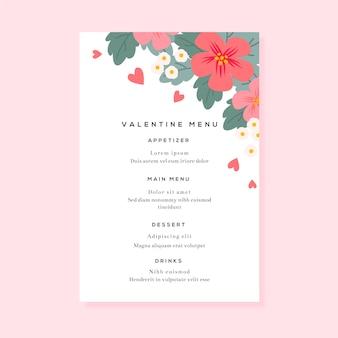 Красочный шаблон меню дня святого валентина