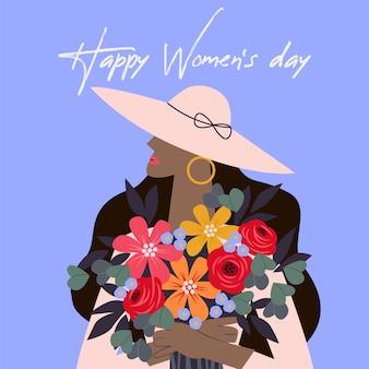 花のスタイルで幸せな女性の日