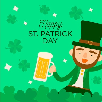 ビールを持って男と聖パトリックの日