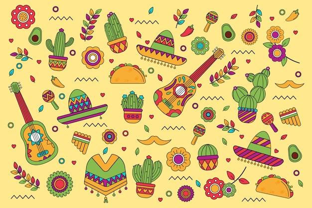 Плоский лежал красочный мексиканский фон