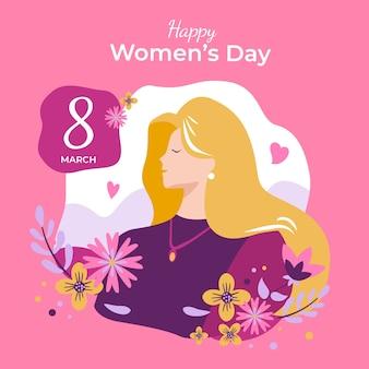 日付と手描きの女性の日