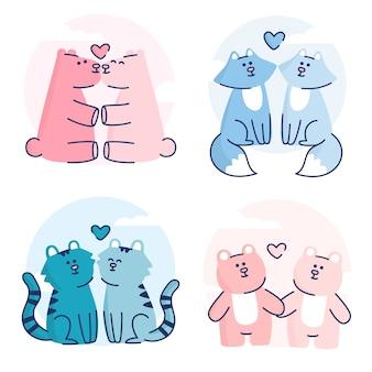 フラットなデザインのバレンタインデーの動物のカップル