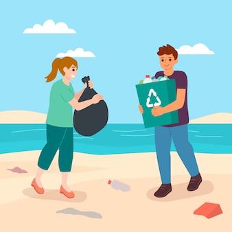 日光の下でビーチを掃除する人々