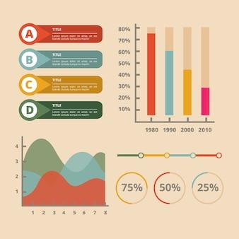 Инфографика с темой ретро цвета
