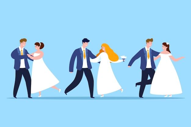 Плоский дизайн свадебных пар иллюстрация