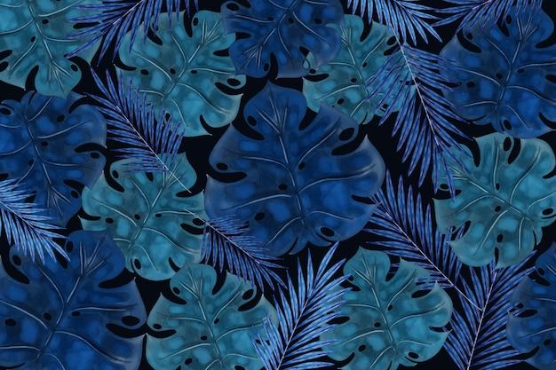 Реалистичные темные тропические листья фон