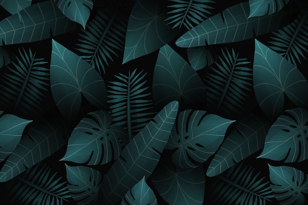 Реалистичные тропические листья фон