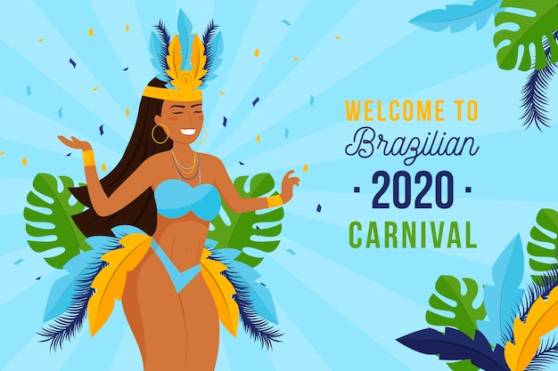 女性とブラジルのカーニバル
