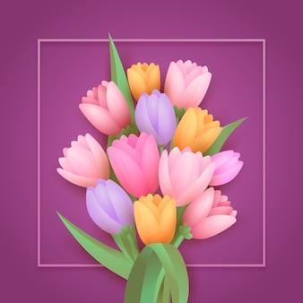 グラデーション紙スタイルの花