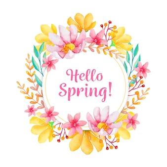 水彩で春の花のフレーム