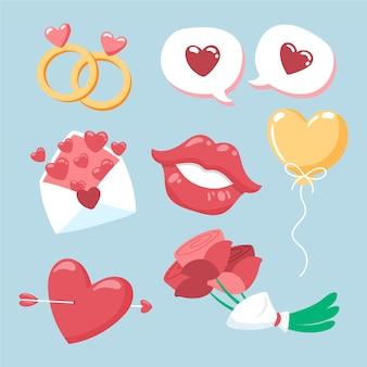 手描きのバレンタイン要素コレクション