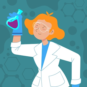 エリキシルを保持している白衣の女性科学者