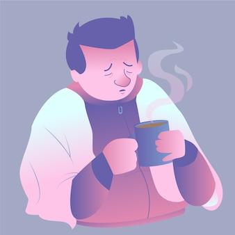冷たい飲み物と熱い飲み物を持つ悲しい男