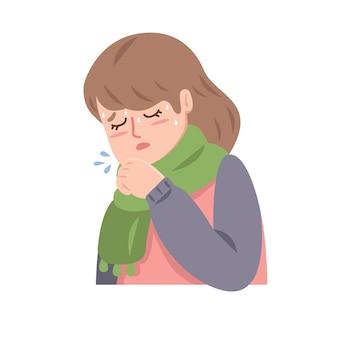 風邪の咳を持つ女性