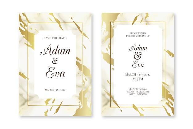 Элегантный мраморный шаблон свадебного приглашения