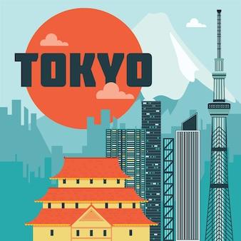 Иллюстрация достопримечательностей токио