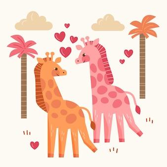 かわいいバレンタインデーの動物のカップル
