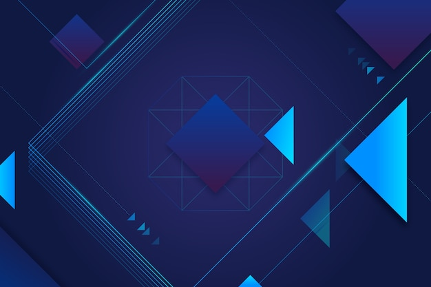 暗い背景上の幾何学的図形要素