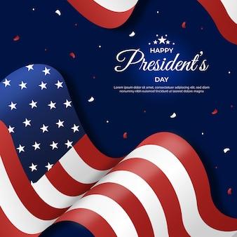 フラットデザイン大統領の日のお祝いのテーマ