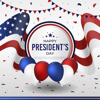 フラットデザイン大統領の日のお祝いのデザイン