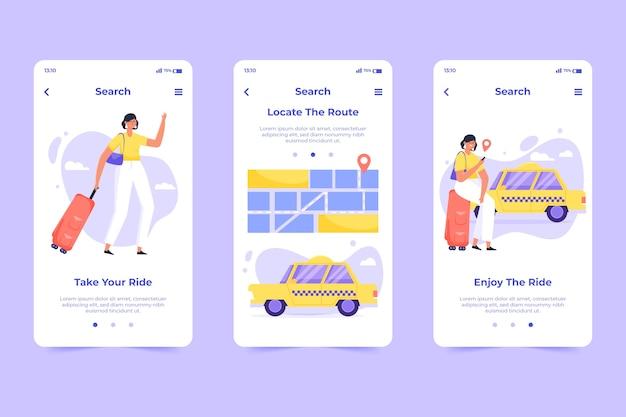 タクシーサービスのオンボーディングアプリ画面の概念