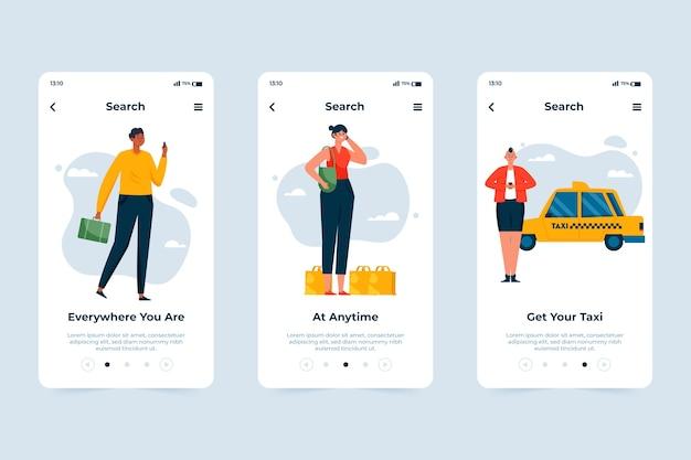 タクシーサービスのオンボーディングアプリの画面テーマ