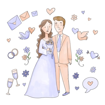 水彩の結婚式のカップルのコンセプト