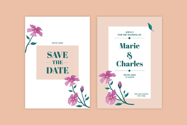 Минималистичная цветочная тема для свадебного приглашения