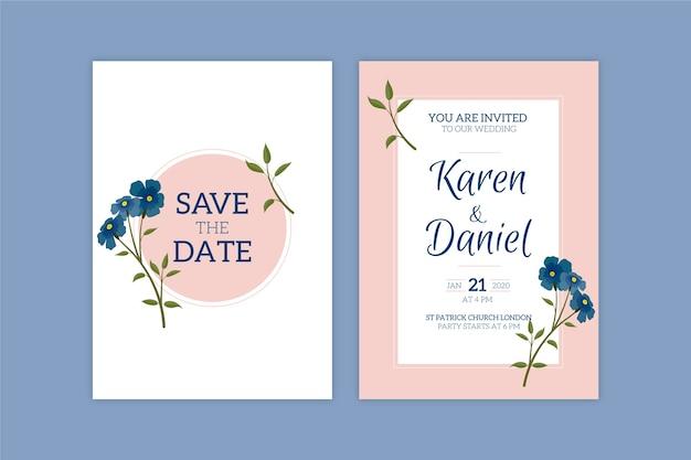 結婚式の招待状のテンプレートのミニマルな花のテーマ