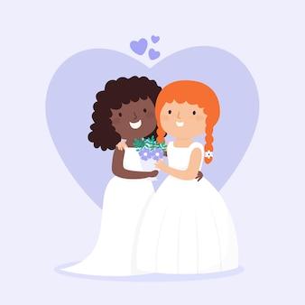 フラットなデザインの結婚式のカップルのデザイン