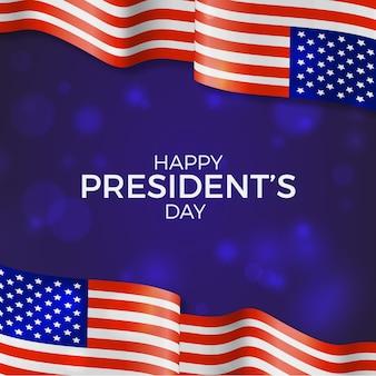 День президентов концепции с реалистичным флагом