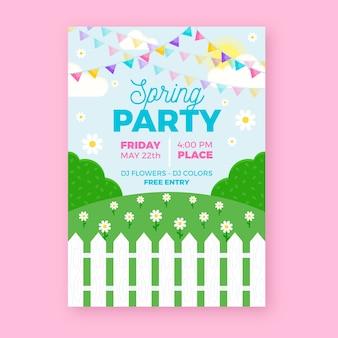 Шаблон флаера весенней вечеринки в плоском дизайне