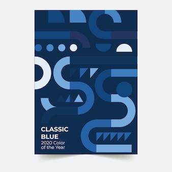 抽象的な古典的な青いチラシテンプレートコンセプト
