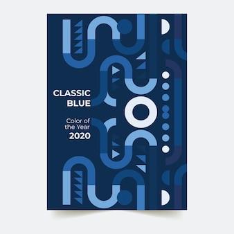 抽象的な古典的な青いチラシテンプレートテーマ