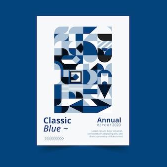 抽象的な古典的な青いポスターテンプレートテーマ