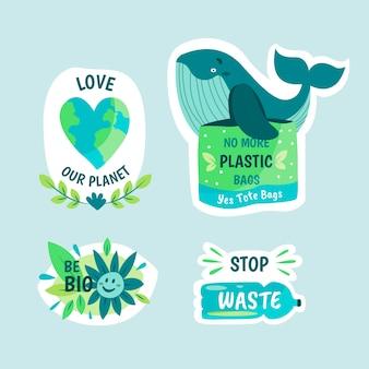 Дизайн рисованной экологии значки