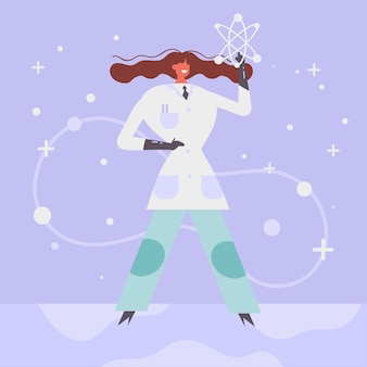 Красочная женская иллюстрация ученого