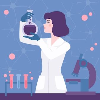 Женский ученый в лаборатории