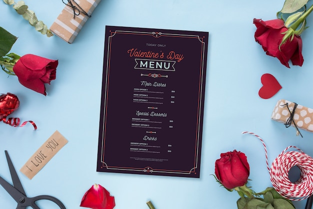 Шаблон меню ко дню святого валентина с розами
