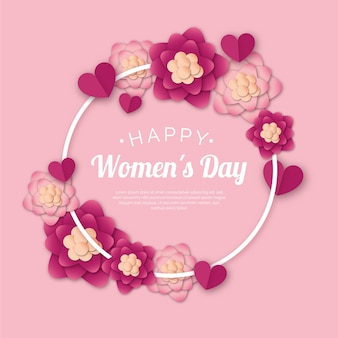 花のフレームと花の女性の日