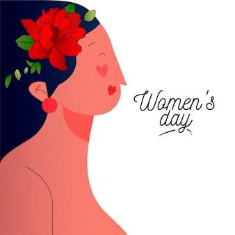 女性の側面図と花の女性の日