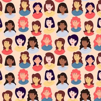 Женский дневной узор с женскими лицами