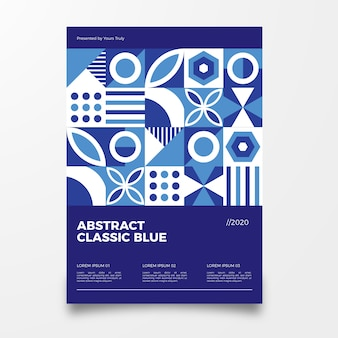 抽象的な古典的な青いポスターテンプレート