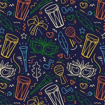 カラフルな手描きのブラジルのカーニバルパターン