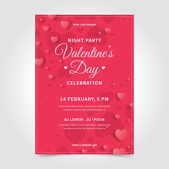 フラットバレンタインパーティーポスターテンプレート