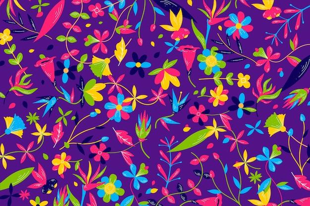カラフルなエキゾチックな花の背景パターン