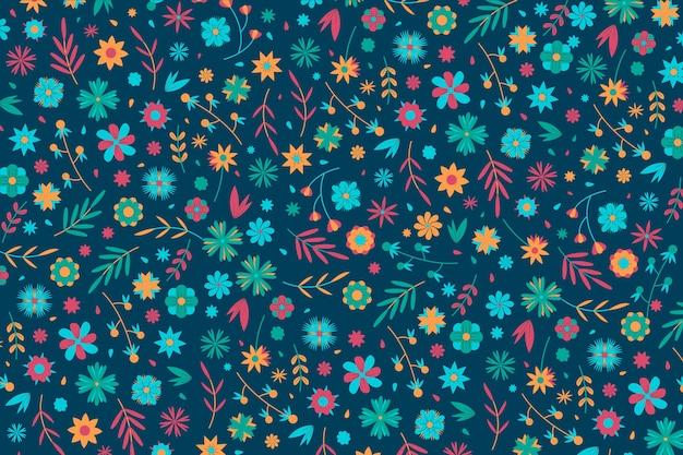 壁紙のカラフルな頭が変な花柄のコンセプト