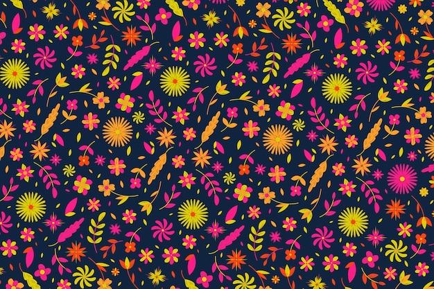 壁紙のカラフルな頭が変な花柄デザイン