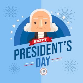 大統領の日のフラットなデザインコンセプト