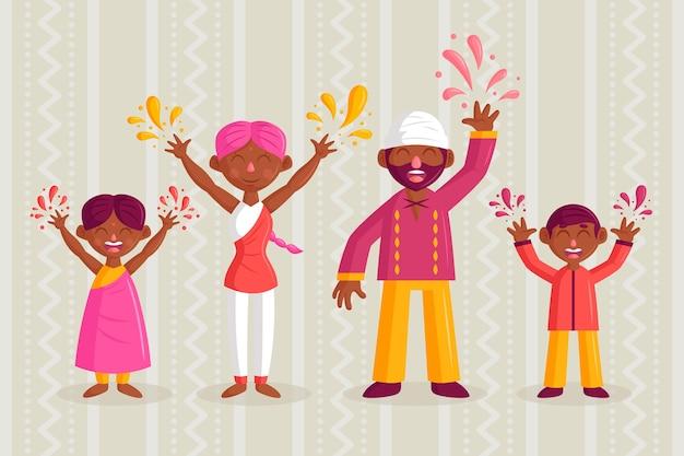 人々のお祝いホーリー祭